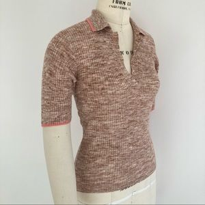 KATE SPADE Beige Pink Fine Knit Polo Sweater Top